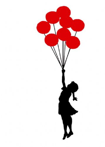 BANKSY - GIRL BALLOONS - White canvas print - self adhesive poster - photo print